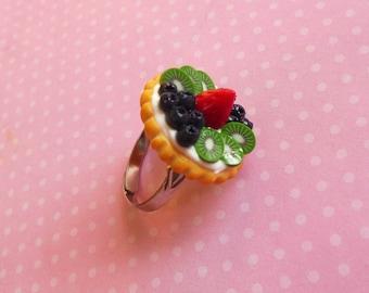 Polymer Clay Fruit Tart Ring Blueberry Strawberry Kiwi