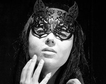 Black Laser Cut Leather Lace Cat Woman Masquerade Costume Mask with Ears - Ornate Roses - FREYJA