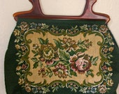 Gorgeous Tapestry Purse With Plastic Handles-Lined With Satin