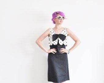r e s e r v e d mod 1960 polka dot dress . scalloped bust . BOW TIE frock .small.medium .sale