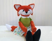 Fox Rag Doll Stuffed Fox Cloth Doll Woodland Decor Ready to Ship