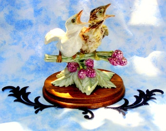 Hungry Baby Birds Porcelain Figurine; Vintage Italian Guido Cacciapuoti; Bird Chicks, Nestling Made in Italys