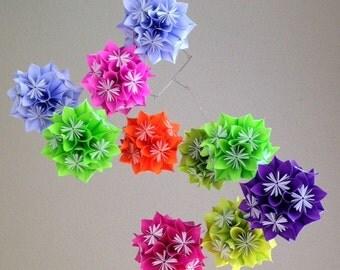 Custom Starburst Flower Ball Mobile~Made to Order Mobile~Kusudama Ball Mobile~Flower Ball Mobile~Custom Paper Flower Mobile~Nursery Decor
