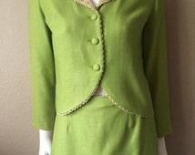 Vintage Women's 60's Bronson, Skirt Suit, Lime Green, Jacket, Skirt (S)