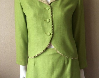 Vintage Women's 60's Bronson, Skirt Suit, Lime Green, Jacket, Skirt (S)