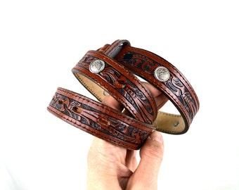 Vintage Nocana Western Skinny Leather Belt  - Horse Buckle - Size 28