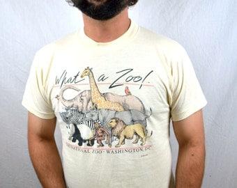 Awesome Vintage 80s National Zoo Washington DC Tshirt Tee Shirt
