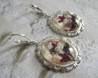 Thundercloud Plum Blossoms-5 Blessings-Pink Blooms-Maroon Stems Pressed Flower Leverback Earrings-Symbol Wealth,Health Love,Virtue,Old Age