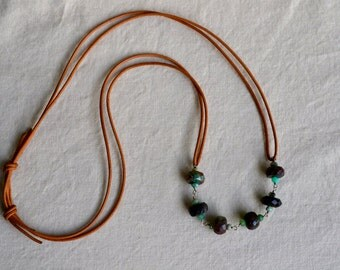 Greek leather adjustable necklace with chrysoprase and Oregon opal