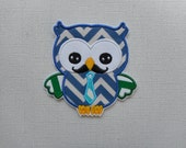 Free Shipping Ready  to Ship  Father's   Day   Owl     Fabric iron on applique