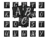 SILVER GLITTER chalkboard alphabet and more digital collage sheet scrabble tiles