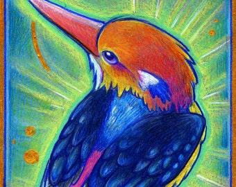 Birdazzling Kingfisher - Original Mixed Media Painting