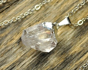 Crystal Necklace, Crystal Pendant Necklace, Crystal Silver Necklace, Clear Raw Crystal Necklace, Sterling Silver Chain