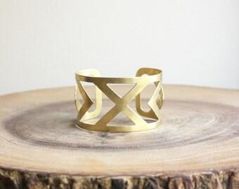 X Cuff Bracelet - wide raw brass arrow cuff bracelet, geometric jewelry, gold statement cuff, southwestern jewelry, metal triangle bracelet