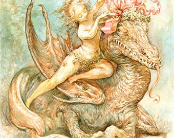 Beautify Your Dragon (print) faerie beauty, pretty monster, humor, fantasy art, ribbons, beauty and the beast