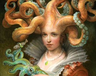 Contessa with Squid (print) fantasy art octopus woman squid tentacles mother and child