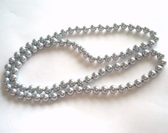 """Silver Gray Pearls Vintage Jewelry  Beads 26"""""""