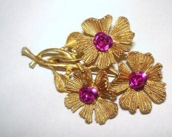 Fushia Red  Flower Brooch Gold Tone
