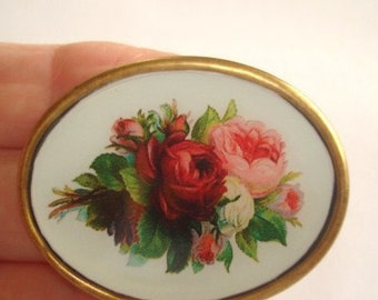 Roses Flower Vintage  Jewelry Brooch KL Design