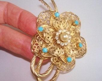 Signed Coro Rhinestone Pearl  Flower Brooch Gold Tone