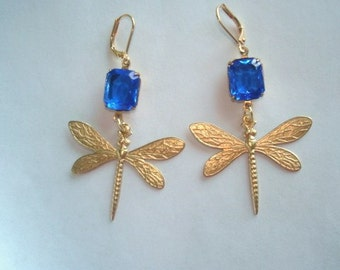 Dragonfly Royal Blue Faceted Glass  Dangle Vintage Jewelry Earrings
