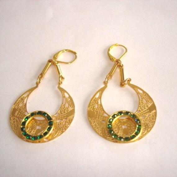 Flower Engraved  Emerald Rhinestones Earrings Gold Tone Dangles