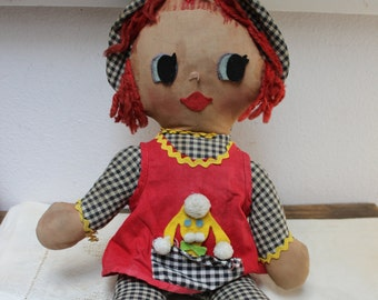 Cloth Doll with Poodle rag Doll VINTAGE by Plantdreaming