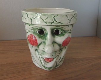 Halloween Smiling Clown Face White Ceramic Planter. Scary Silly Face Pot. Rosy Cheeked Green Face Painted  Vase