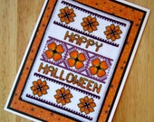 Floral Handmade Halloween Cross Stitch Greetings Card (#287)
