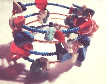 20% off sale - Bracelet - Memory Bracelet - Turquoise, Cobalt Blue, Orange and Bone White