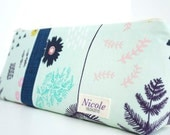 NEW-Personalized Cosmetic Makeup Bag - Fern Book Mint- Made to Order