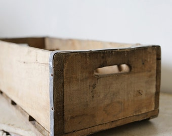 vintage wooden divided crate