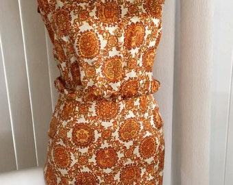 Cute Vintage Kobe Silk Japanese Two Piece Dress -- early 60's -- Size XS