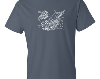 Cephalopod Tshirt with Nautilus, Octopus and Squid | Steampunk | Naturalist | Science | Marine | Ink Sketch | Tee