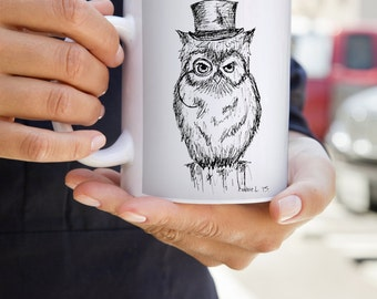 Villainous Owl Mug | Villain | Monocle | Top hat | Owl | Forest | Animal