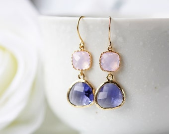 Purple Tanzanite & Violet Opalescent Glass Earrings Gold Dangle Titanium Nickel Free Earrings