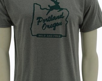 Tall sizes| Wild & Free| Portland Oregon| Men's regular T Shirt| Made in OR Sign| up to 3XL Tall| Gift for him| Gift for her| Hometown tee.