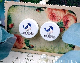 Buy 1 Get 1 Free - 20pcs 15mm (WC58) Round Handmade Photo Wood Cut Cabochon (Back White)