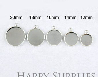 Nickel Free - 10Pcs High Quality Silver Plated Brass 12mm/ 14mm/ 16mm/ 18mm/ 20mm Cabochon Pendant Base With One Loop (GD131R)