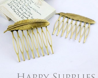 2pcs Nickel Free - High Quality Antique Bronze Feather Pad 8 Teeth Barrette Hair Combs (06901)
