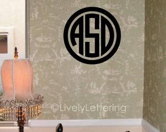 "18"" Circle Block Monogram wall decal, 3 letter initials, Circle monogram decal, monogram vinyl lettering (LL0933)"