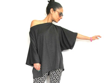 Slouchy Plus Size Tunic- Oversize jersey plus size tunic top, Long sleeve plus size clothes,Trendy plus size clothes,