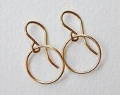 Gold Hoop Earrings - Small Gold Filled Circle Earrings Dangle Earrings