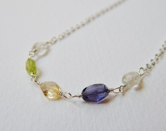 Multistone Necklace - Sterling Silver Beaded Necklace Rosary Beadwork Necklace Faceted Aquamarine Iolite Peridot Citrine