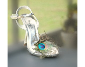 Sparkly Peacock Shoe Clips. Statement Sparkle Trend, Elegant Graduation Prom Sandal Feather Heel Pin.Teal Green Aqua Blue, Bride Bridal Gift
