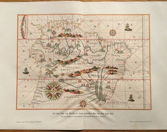 1900 SOUTH AMERICA MAP original antique lithograph - chart of the Americas from a Spanish atlas in the year 1582
