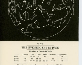 1977 JUNE or MAY constellation monthly celestial star map original vintage astronomy print