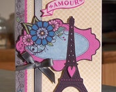 Handmade All Occasion Card - AMOUR & Eiffel Tower for Anniversary or Valentine
