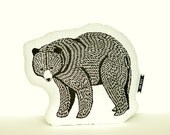 bear plush, black bear pillow, animal pillows, paper cutting designs, bear cushion, animal cushion, plush animals, animal accent pillow