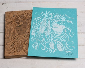Burning Feather - Blue Spring Block Print